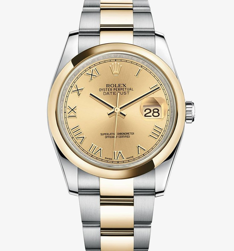 Swiss Rolex Datejust Mens 116203 Golden dial Roman numerals  Automatic Replica Watch