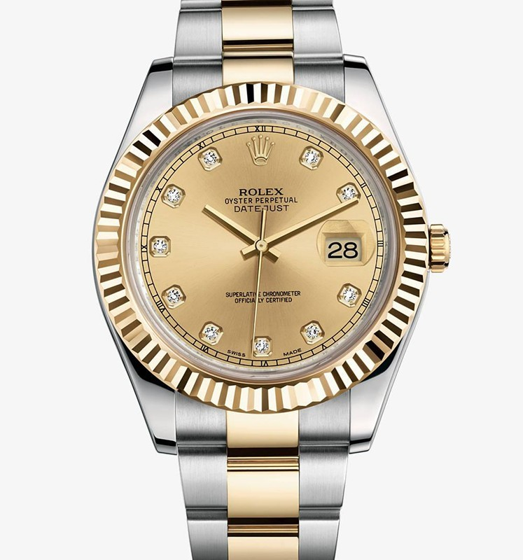 Swiss Rolex Datejust II Mens 116333 Champagne dial Diamond time markers Automatic Replica Watch