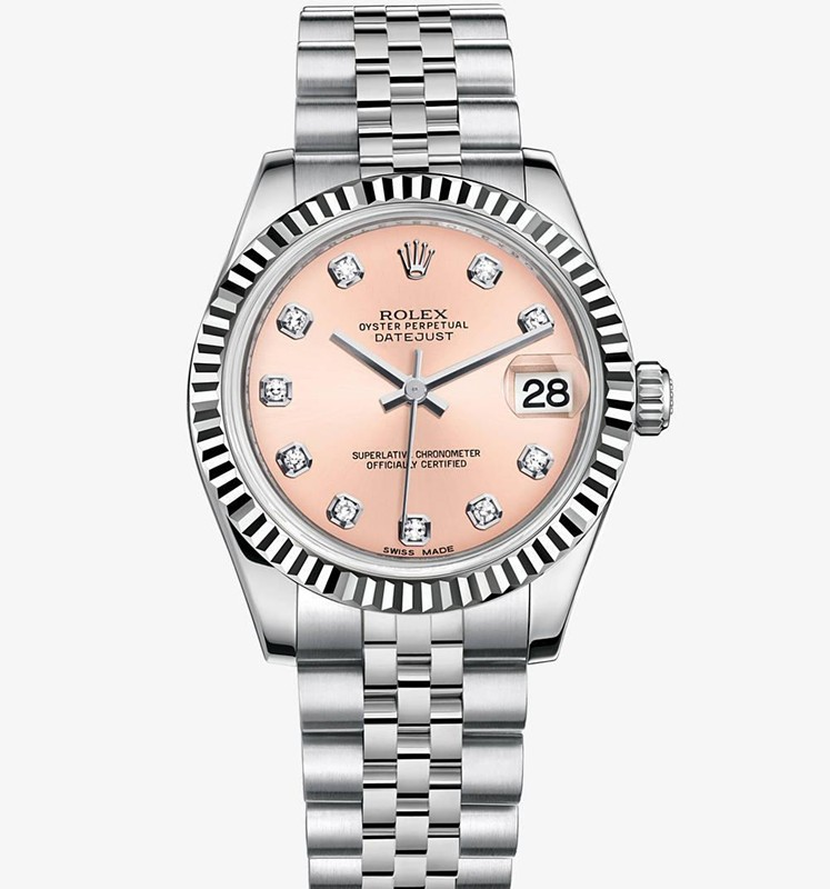 Swiss Rolex Datejust Ladies 178274 Pink dial Diamond time markers Automatic Replica Watch