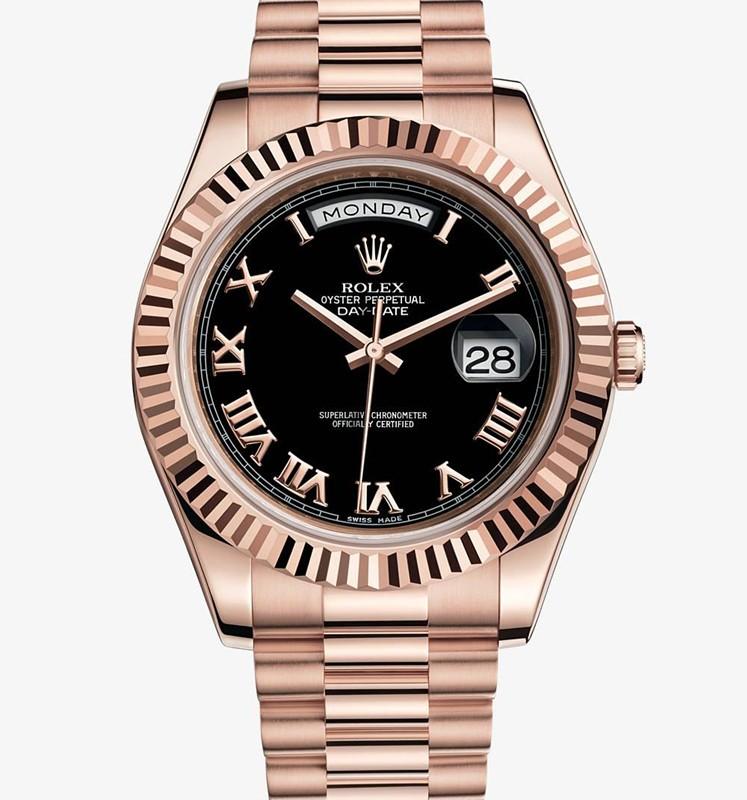 Swiss Rolex Day-Date II 218235 Rose gold Black dial Men Automatic Replica Watch