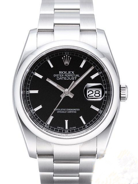 Swiss Rolex Datejust Mens 116200 Black dial Bar-type time markers Automatic Replica Watch