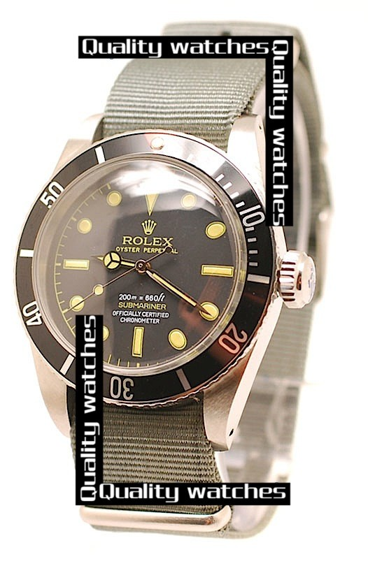 Rolex Submariner Black dial Grey Nylon strap Dot time markers Automatic Replica Watch
