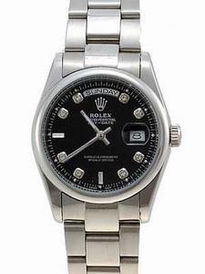 Rolex Day-Date II Replica Watches Black Dial RX41154