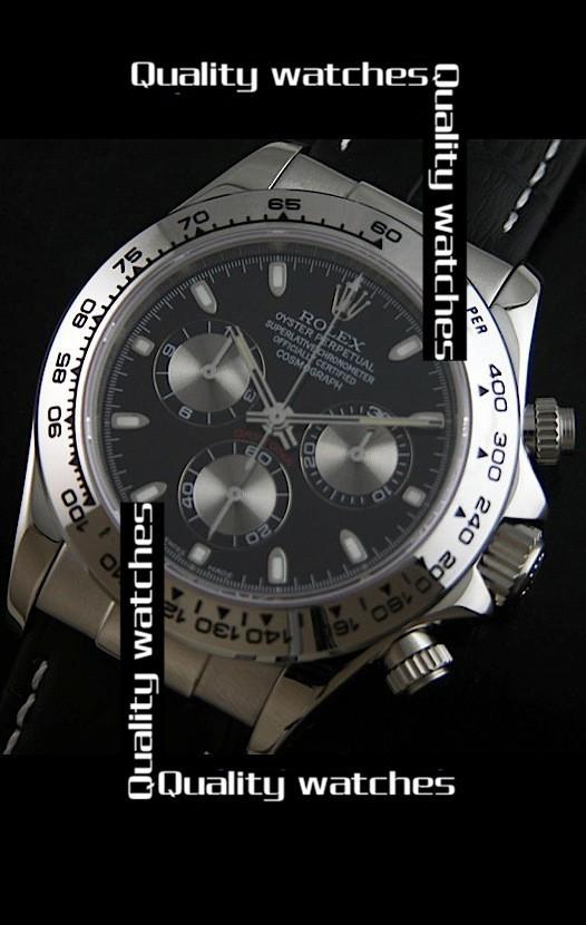 Swiss Rolex Cosmograph Daytona Black dial Leather strap Automatic Replica Watch