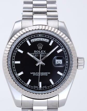 Rolex Day-Date II Replica Watches Black Dial RX41162
