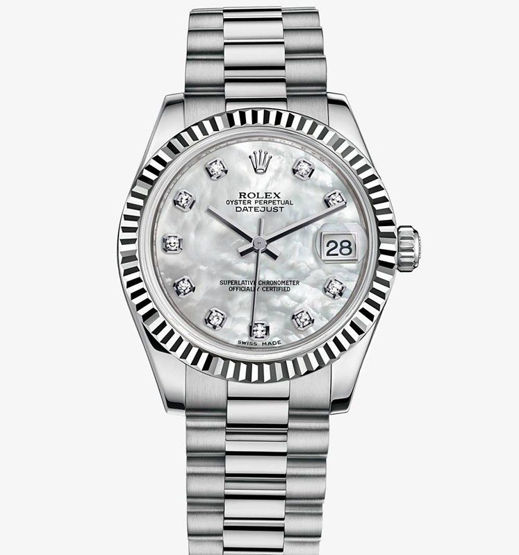 Swiss Rolex Datejust Ladies 178279 White MOP dial Diamond time markers Automatic Replica Watch