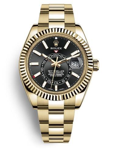 Replica Rolex Sky-Dweller Swiss Watches Gold 326938-0004 Black Dial 42mm(High End)