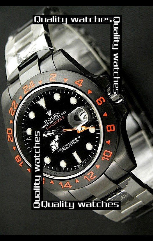 Swiss Rolex Explorer II Orange GMT Sticker White Dot time markers  Automatic Replica Watch