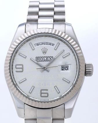 Rolex Day-Date II Replica Watches silver Dial RX41146