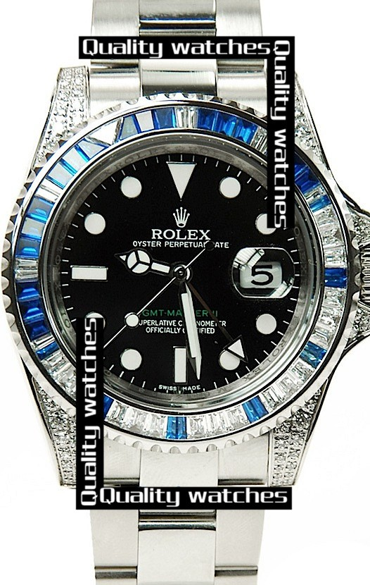Rolex GMT-Master II Diamond case and bezel Black dial  Automatic Replica Watch