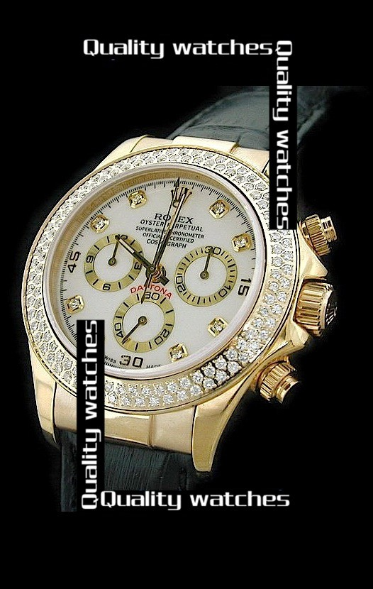Swiss Rolex Cosmograph Daytona White Dial Full Diamonds Bezel Black Strap Automatic Replica Watch