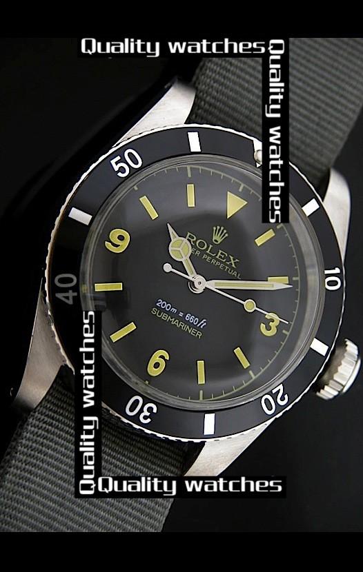 Rolex Submariner Domed Crystal Nylon strap Arabic numerals Automatic Replica Watch