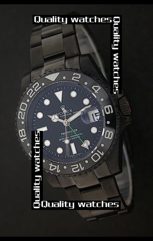 Swiss Rolex Pro-Hunter GMT-Master II PVD coated 41mm Automatic Replica Watch