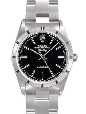 Rolex Air King Replica Watches SS Black Dial Bar Hour markers II