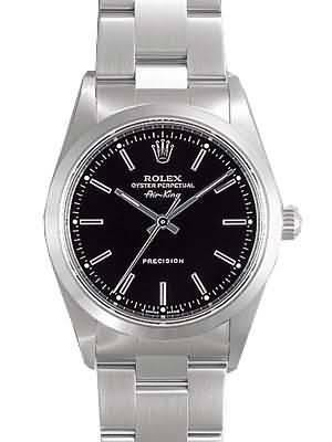 Rolex Air King Replica Watches SS Black Dial Bar Hour markers I