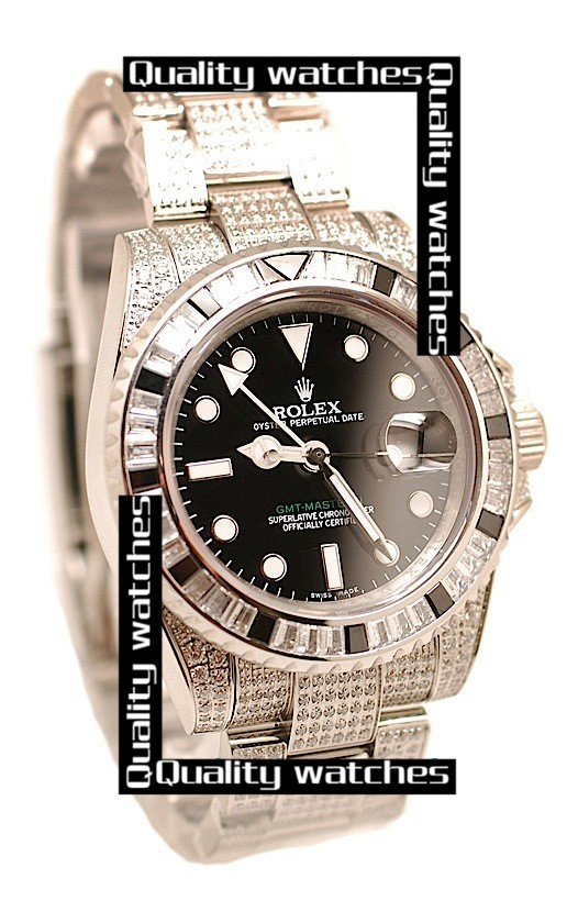 Swiss Rolex GMT-Master II Dense Diamonds on case and bezel Automatic Replica Watch