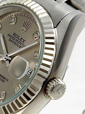 Rolex Datejust Replica Watches SS Gray dial diamond (CZ) hour marker II