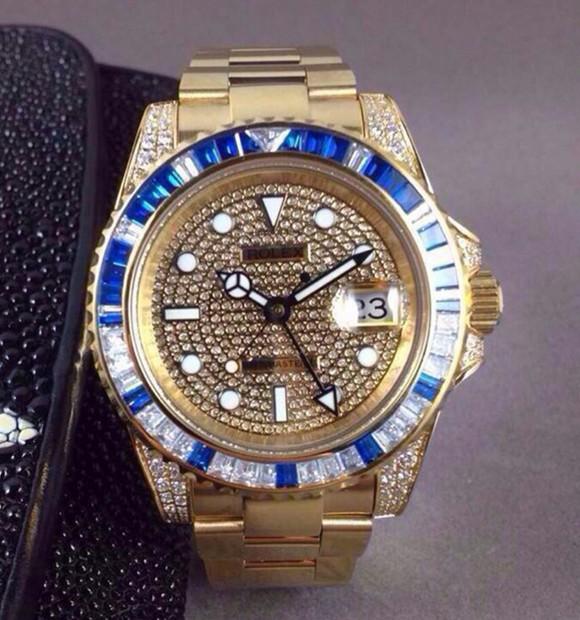 Swiss Rolex GMT-Master II 116758 SA-78208 18K Yellow Gold Diamonds Bezel with Sapphire Men Automatic Replica Watch