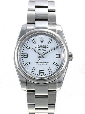 Rolex Air King  Replica Watches SS White Dial Arabic and White Bar Hour Markers