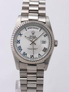Rolex Day-Date II Replica Watches Silver Dial RX41152
