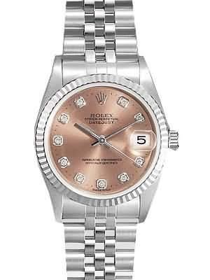 Rolex Datejust Replica Watches SS Stainless Steel Bronze Dial Diamond Hour markers IV