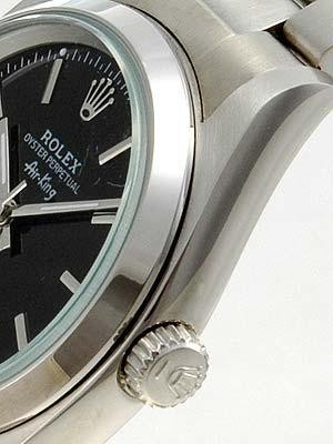 Rolex Oyster Perpetual Replica Watches SS Stainless Steel Black Dial Bar Hour markers