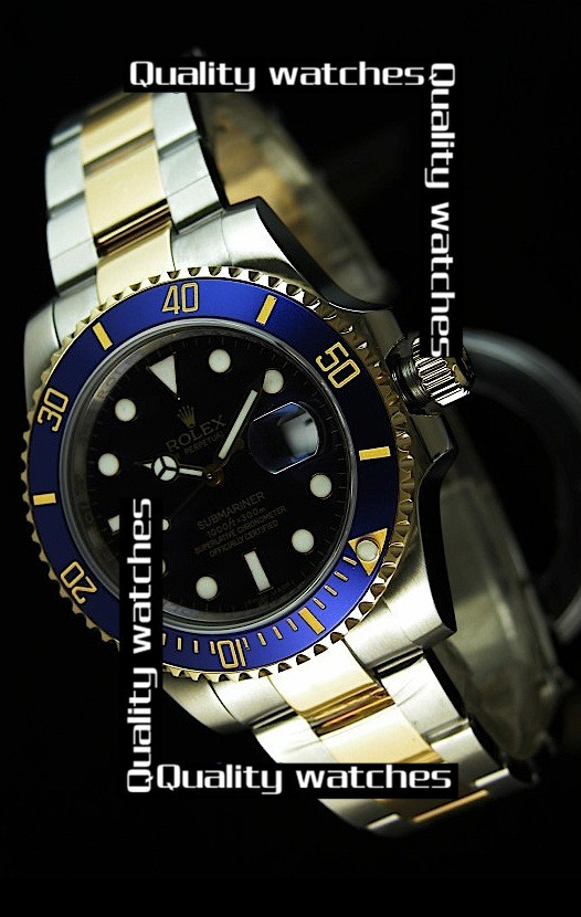 Rolex Submariner Two toned case Super Luminous Blue Automatic Replica Watch