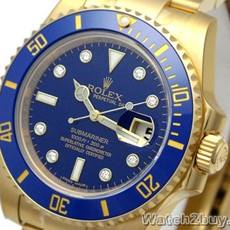 Rolex Submariner Replica Watches 18K yellow gold Mens Watch 116618GL