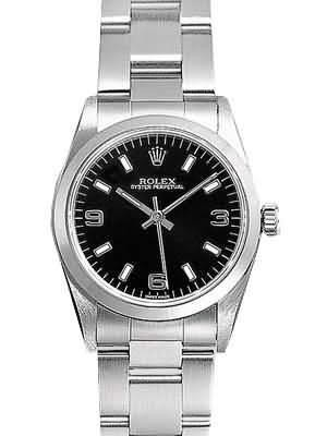 Rolex Oyster Perpetual Replica Watches SS Stainless Steel Black Dial Arabic Bar Hour markers V
