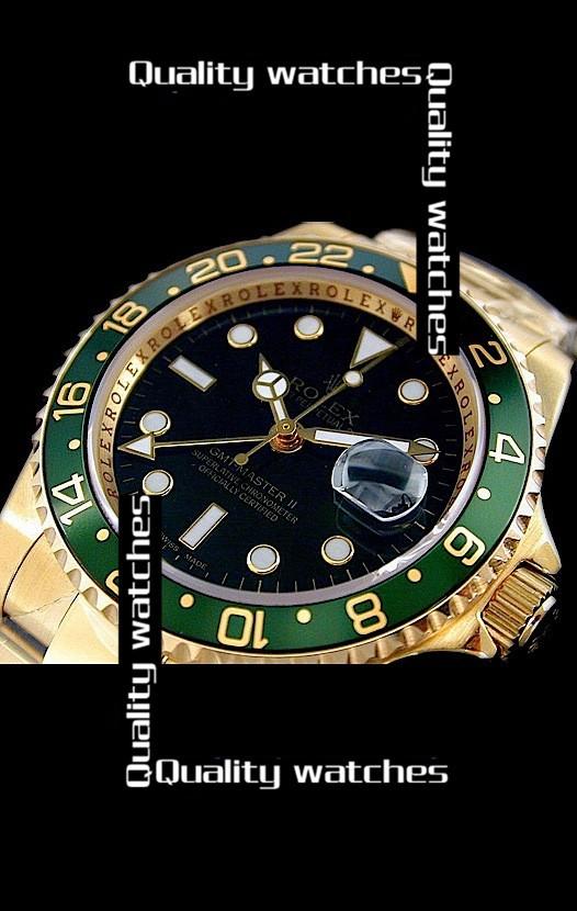 Swiss Rolex GMT-Master II Gold Black dial Green bezel Automatic Replica Watch