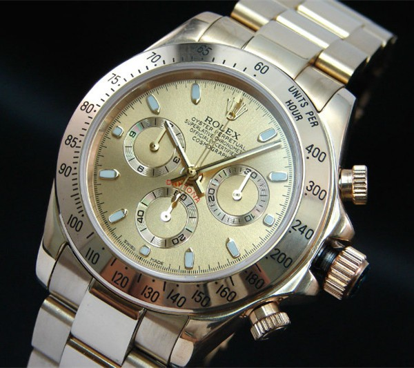 Swiss Rolex Cosmograph Daytona 18K Gold Golden dial Bar-type time markers Automatic Replica Watch