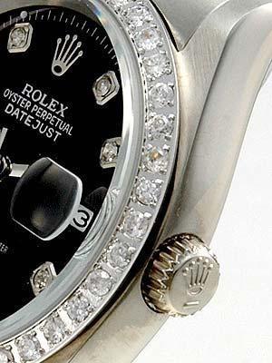 Rolex Datejust Replica Watches SS Black dial diamond (CZ) hour markers I