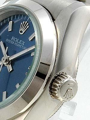 Rolex Oyster Perpetual Replica Watches Blue Dial Number Bar Hour Makers
