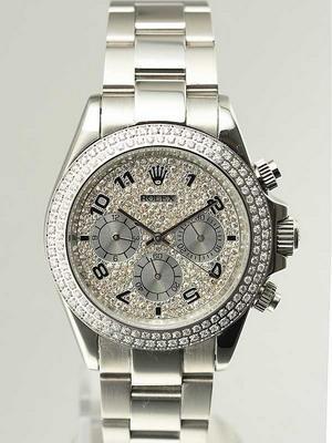 Rolex Daytona Replica Watches SS Double Diamond Bezel