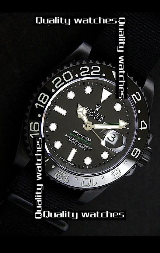 Swiss Rolex Pro-Hunter GMT-Master II Ceramic Black dial Nylon strap Automatic Replica Watch