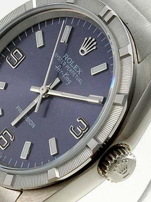 Rolex Air King  Replica Watches SS Blue Dial Arabic Bar Hour markers I