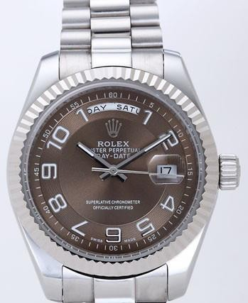Rolex Day-Date II Replica Watches Brown Dial RX41157