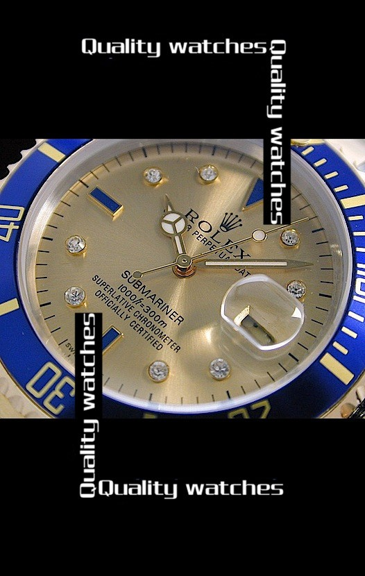 Swiss Rolex Submariner Golden dial Diamond time markers Two toned strap Automatic Replica Watch
