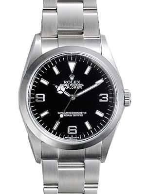 Rolex Explorer Replica Watches SS Vintage Edition Black dial RX418