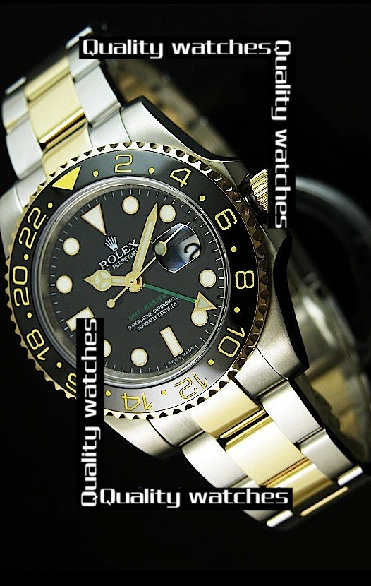 Rolex GMT-Master II Dot time markers Black dial Two toned strap Automatic Replica Watch