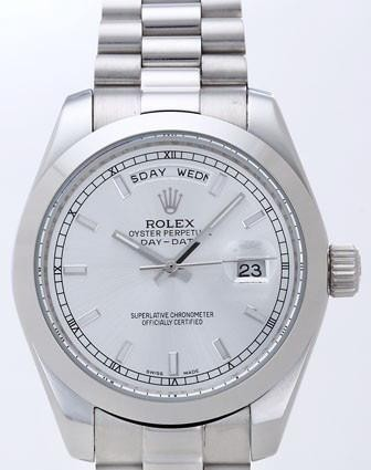 Rolex Day-Date II Replica Watches Silver Dial RX41153