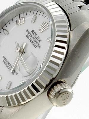 Rolex Datejust Replica Watches SS White Dial Number and Bar Hour Markers II