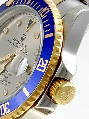 Rolex Submariner Replica Watches 18Kt SS Silver Dial Diamond Hour Markers
