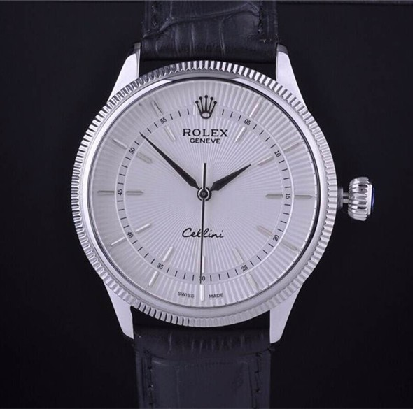 Swiss Rolex Cellini18K White Gold White Dial Stick Time Markers Automatic Replica Watch