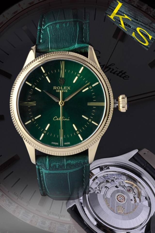 Swiss Rolex Cellini Time 18K Yellow Gold Black Dial Automatic Replica Watch