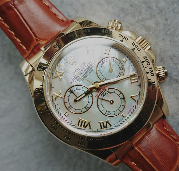 Rolex Daytona Automatic Replica Watches Brown Leather MOP Dial 40mm