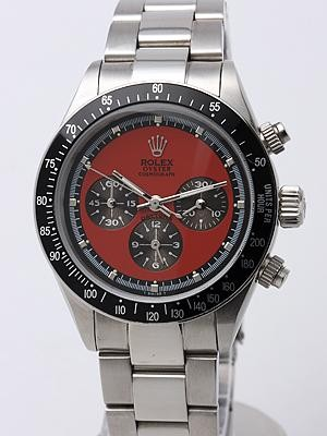 Rolex Daytona Replica Watches SS Red Dial Black Inner Mete SS band