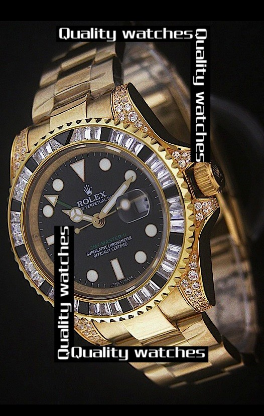 Swiss Rolex GMT-Master II 18K Gold Diamonds bezel Automatic Replica Watch