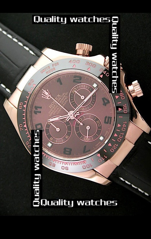 Swiss Rolex Cosmograph Daytona Rose Gold Brown Dial Black Leather Strap  Automatic Replica Watch