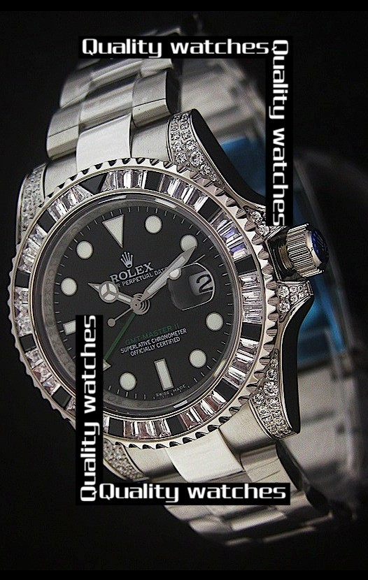 Swiss Rolex GMT-Master II Diamonds bezel Green Hand  Automatic Replica Watch